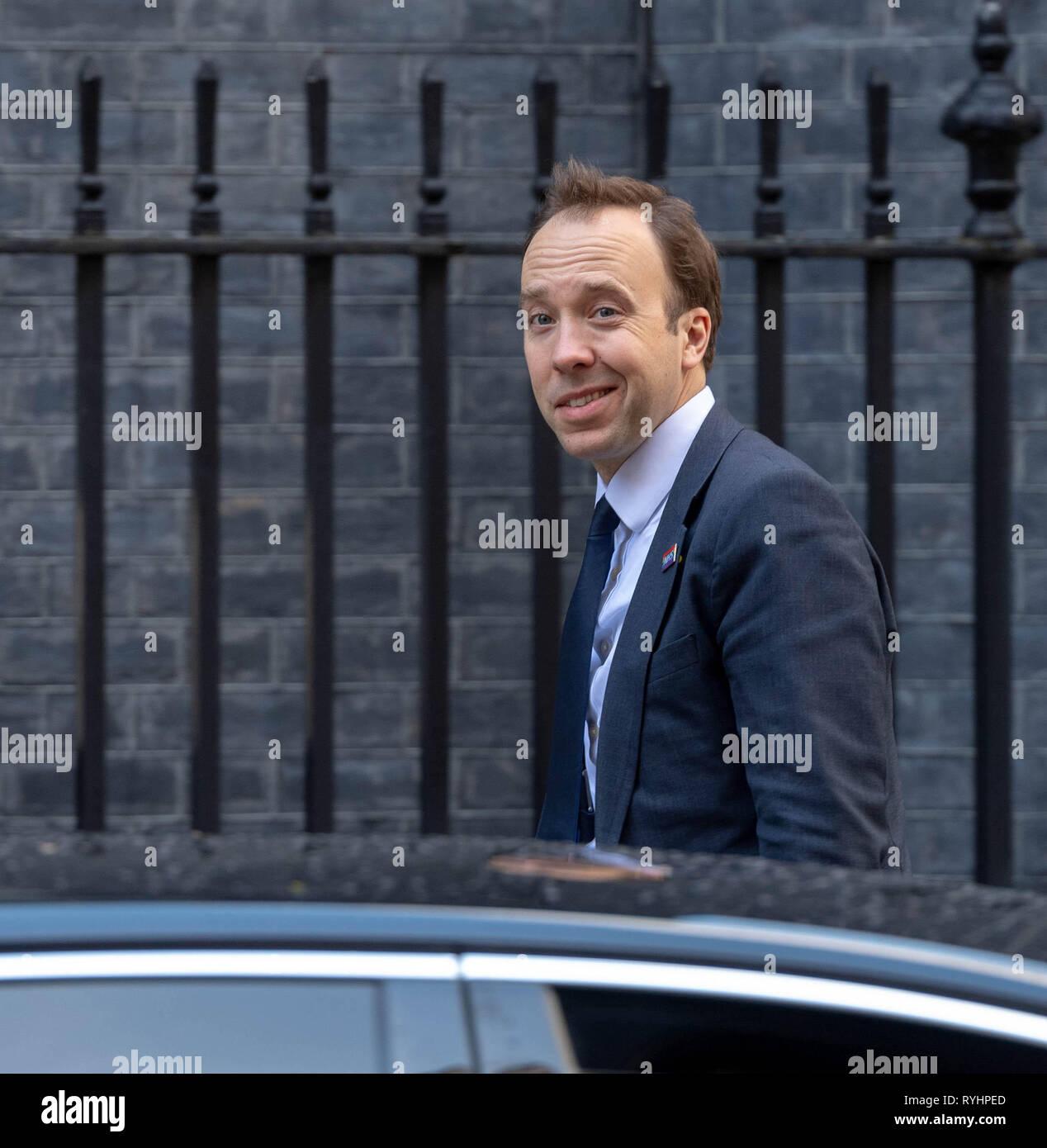 London, UK. 14th Mar 2019. Matt Hancock, MP PC, Health Secretary arrives at a Cabinet meeting at 10 Downing Street, London Credit: Ian Davidson/Alamy Live News - Stock Image