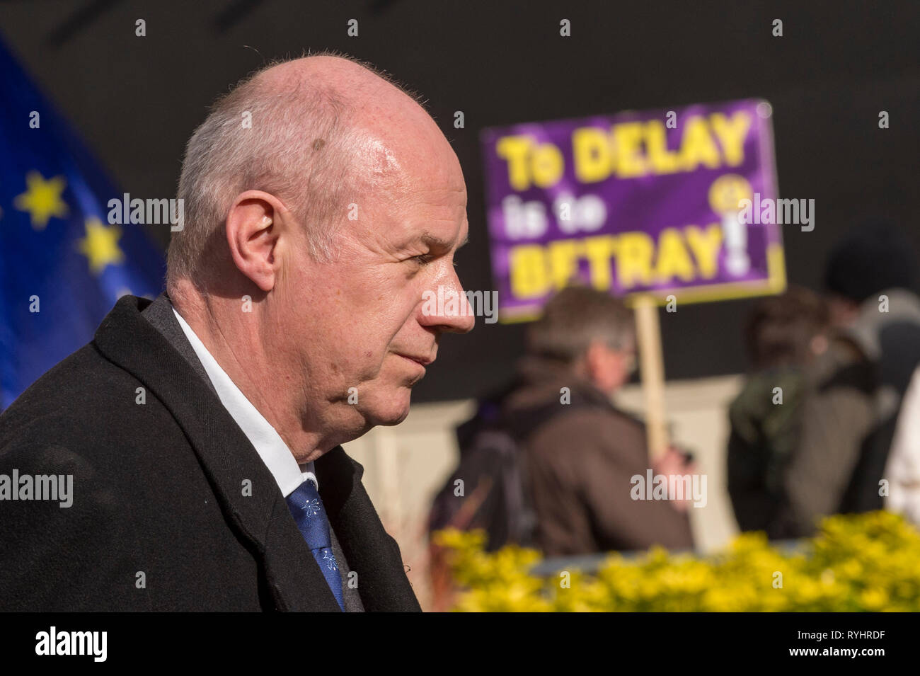 London, UK. 14th Mar, 2019. Damian Green, MP for Ashford, takes part in an interview in Westminster. MPs are due to vote on whether to delay the departure date for Brexit later today. Credit: Stephen Chung/Alamy Live News - Stock Image
