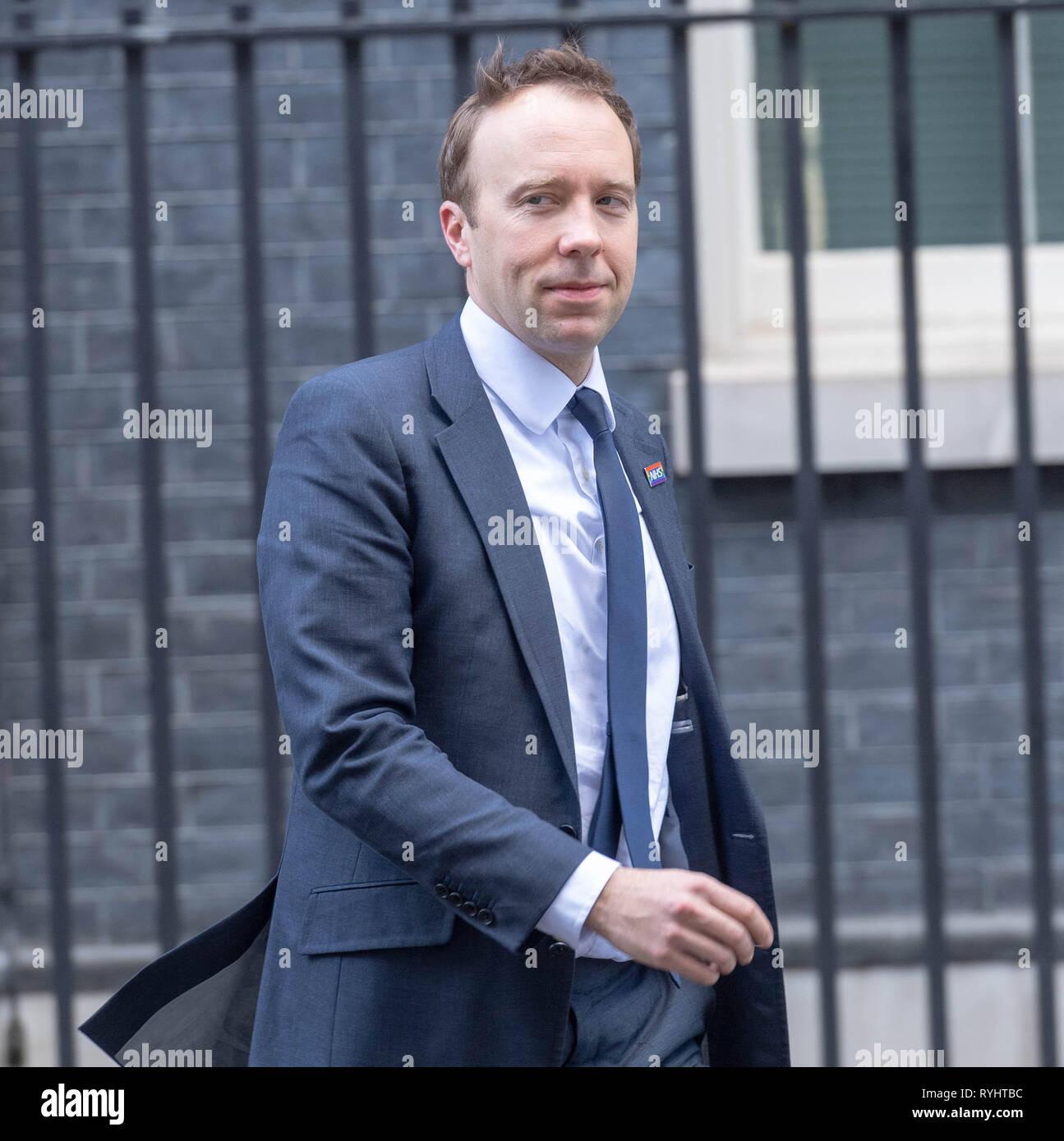 London, UK. 14th March 2019, Matt Hancock, MP PC, Health Secretary leaves a Cabinet meeting at 10 Downing Street, London, UK. Credit: Ian Davidson/Alamy Live News - Stock Image