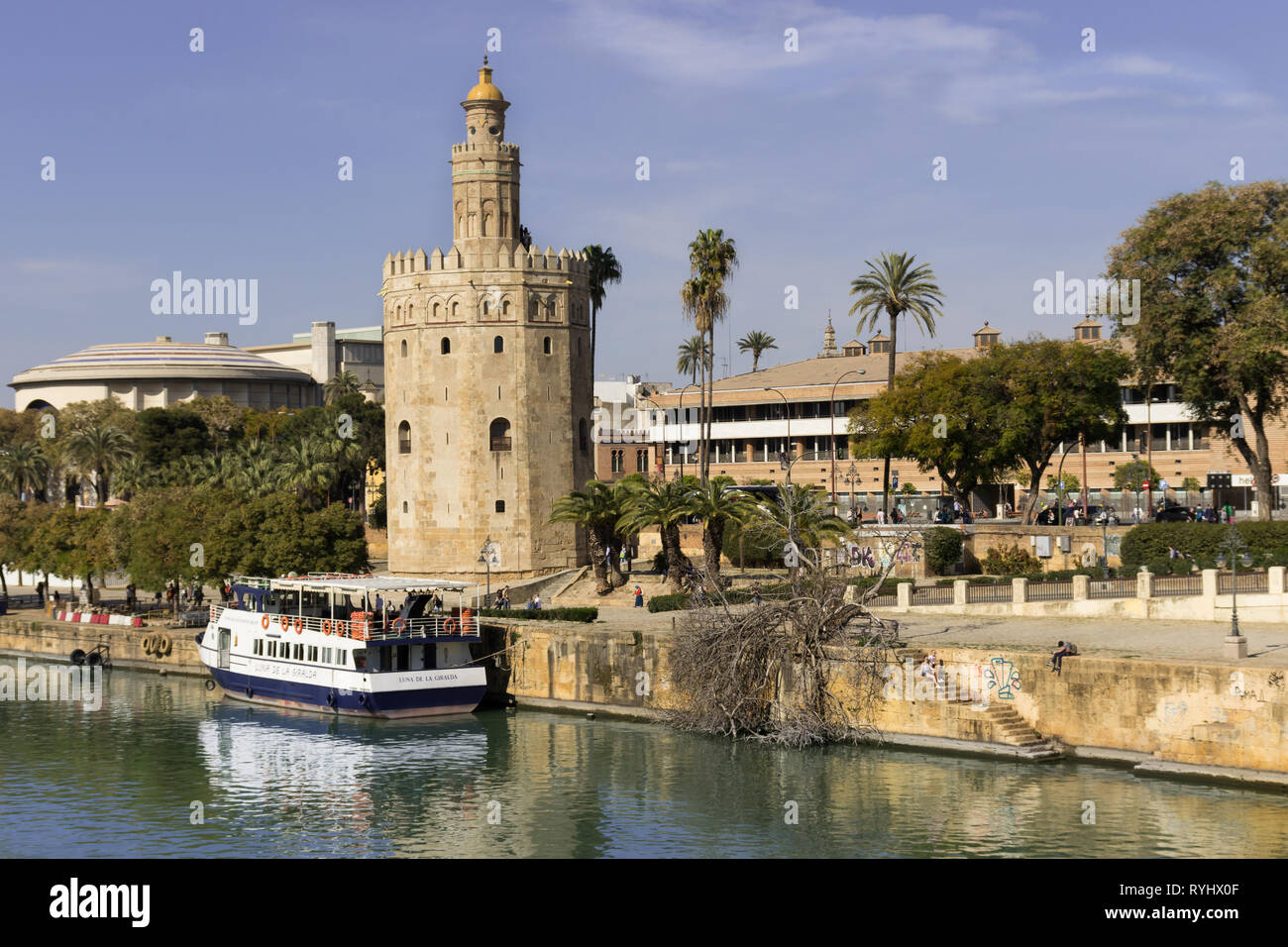 View of the Torre del Oro of Seville on the Guadalquivir river, Seville, Spain, March 03, 2019 Stock Photo