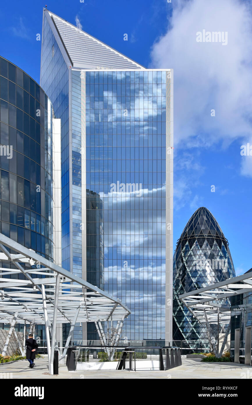 Gherkin London with Scalpel landmark skyscraper office building Fen Court Fenchurch Street rooftop garden & viewing platform City of London England UK - Stock Image