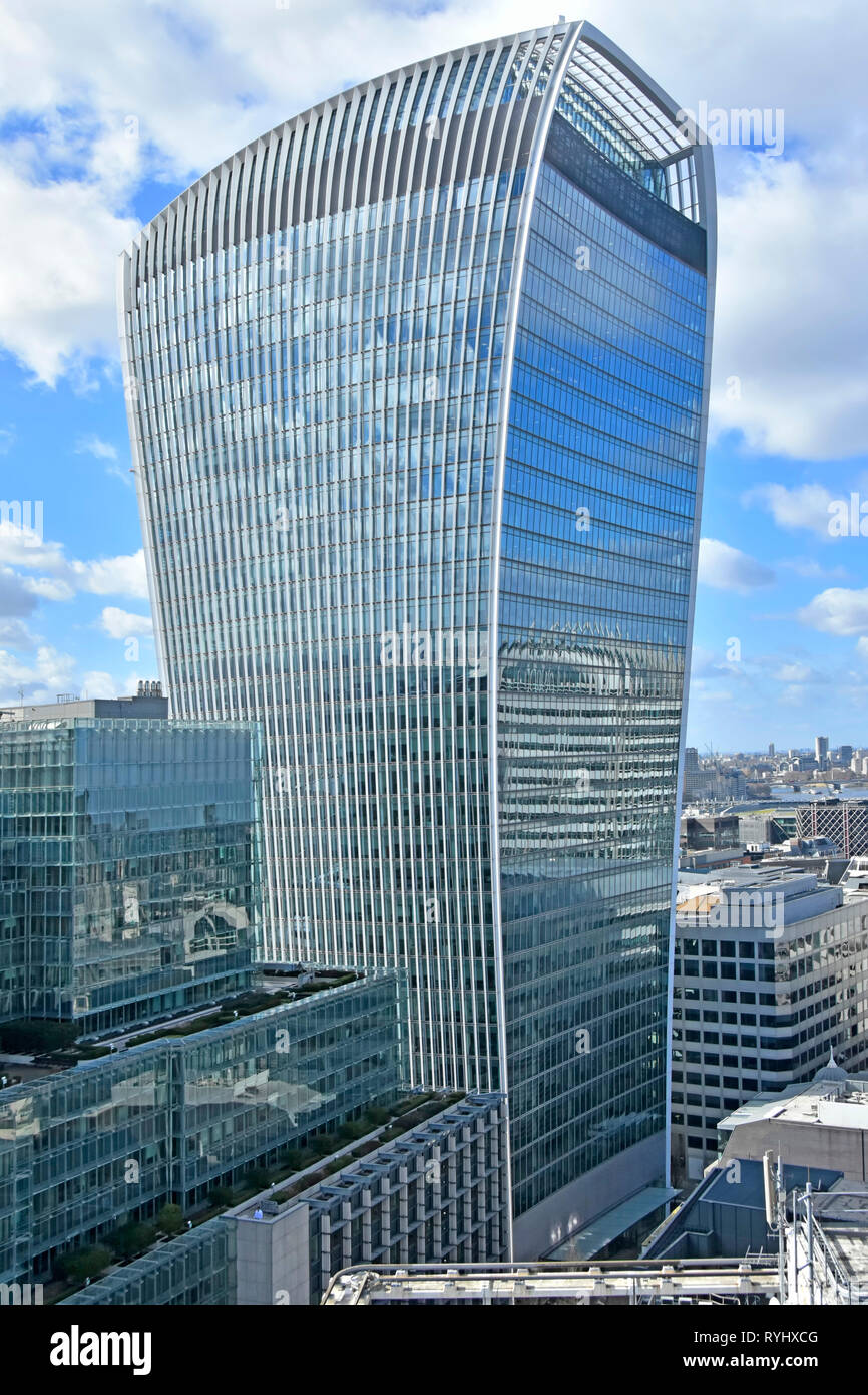 Walkie Talkie landmark office building at 20 Fenchurch Street a multi lettings commercial skyscraper property development City of London England UK - Stock Image