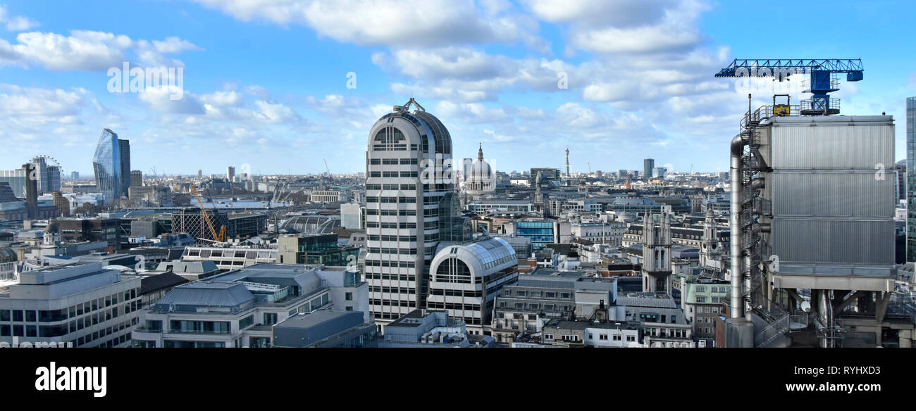 London panorama urban skyline & cityscape includes modern City of London buildings & general urban landscape beyond England UK info box for landmarks - Stock Image