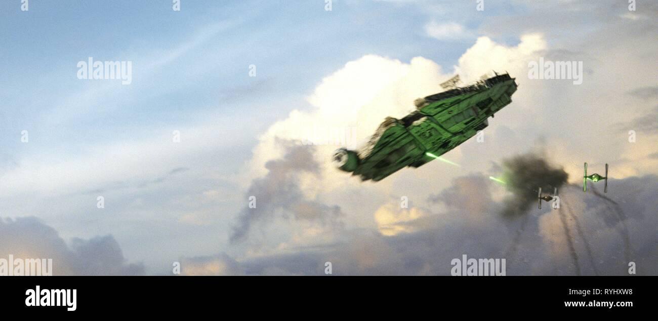 THE MILLENIUM FALCON, TIE FIGHTERS, STAR WARS: THE LAST JEDI, 2017 - Stock Image