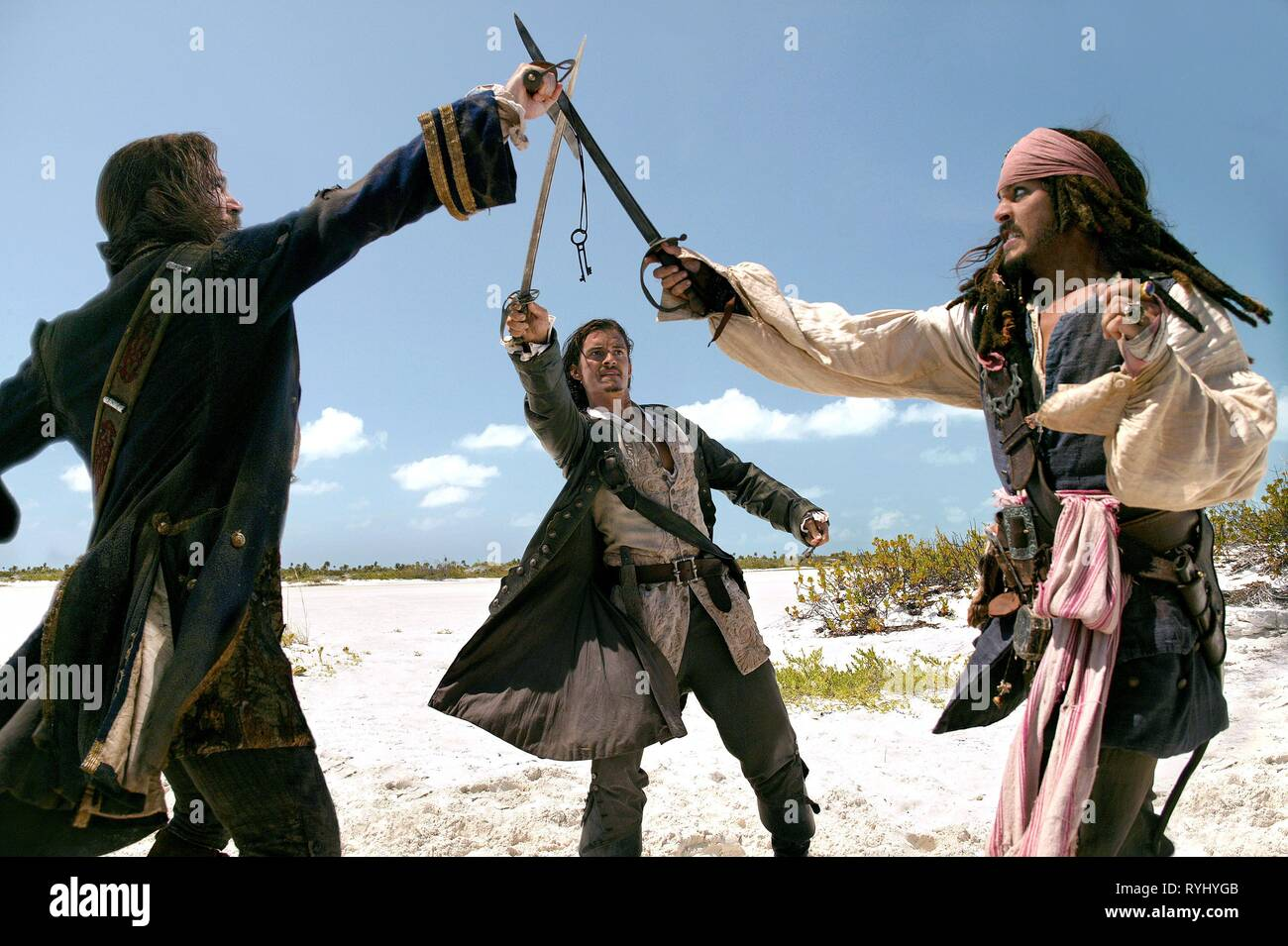 JACK DAVENPORT, ORLANDO BLOOM, JOHNNY DEPP, PIRATES OF THE CARIBBEAN: DEAD MAN'S CHEST, 2006 - Stock Image