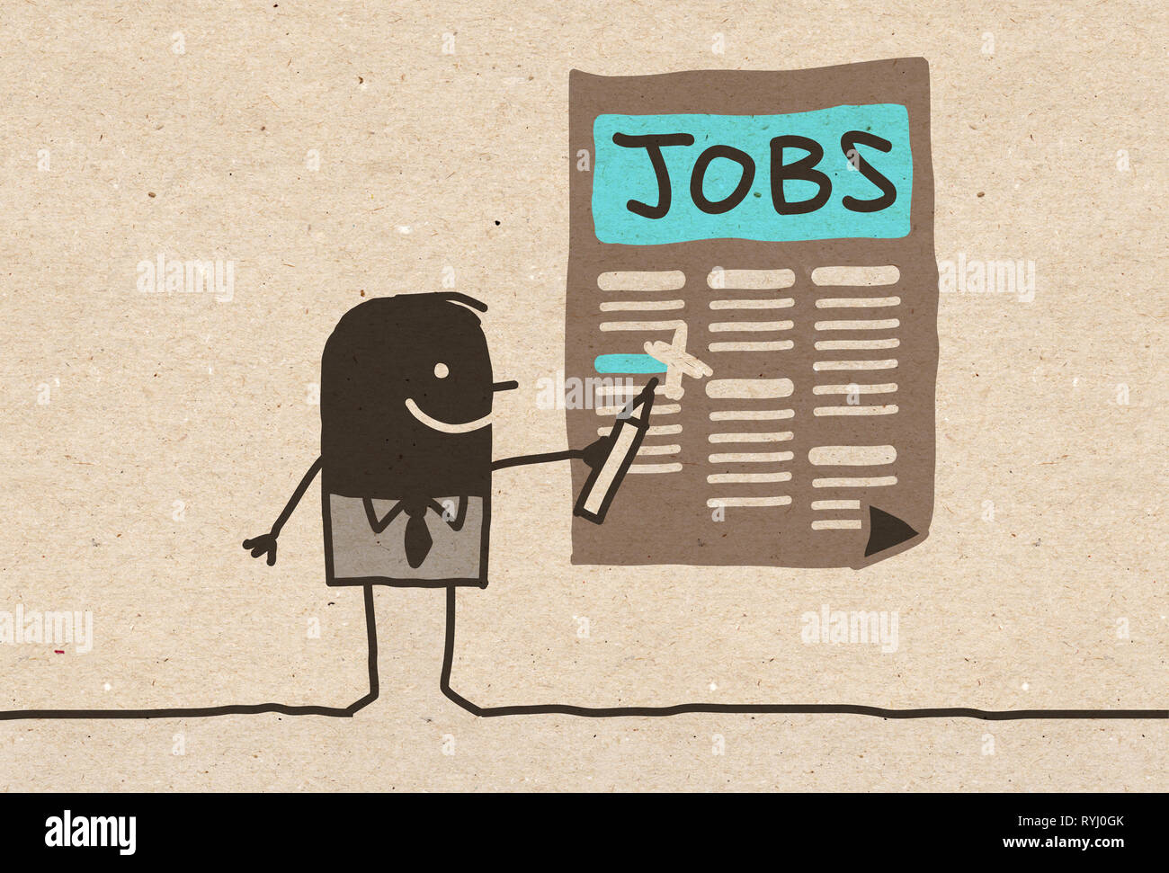 Black Cartoon Man Looking For A Job Stock Photo 240726099 Alamy