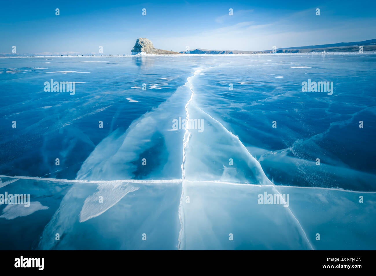 Natural breaking ice in frozen water at Lake Baikal, Siberia, Russia. Stock Photo