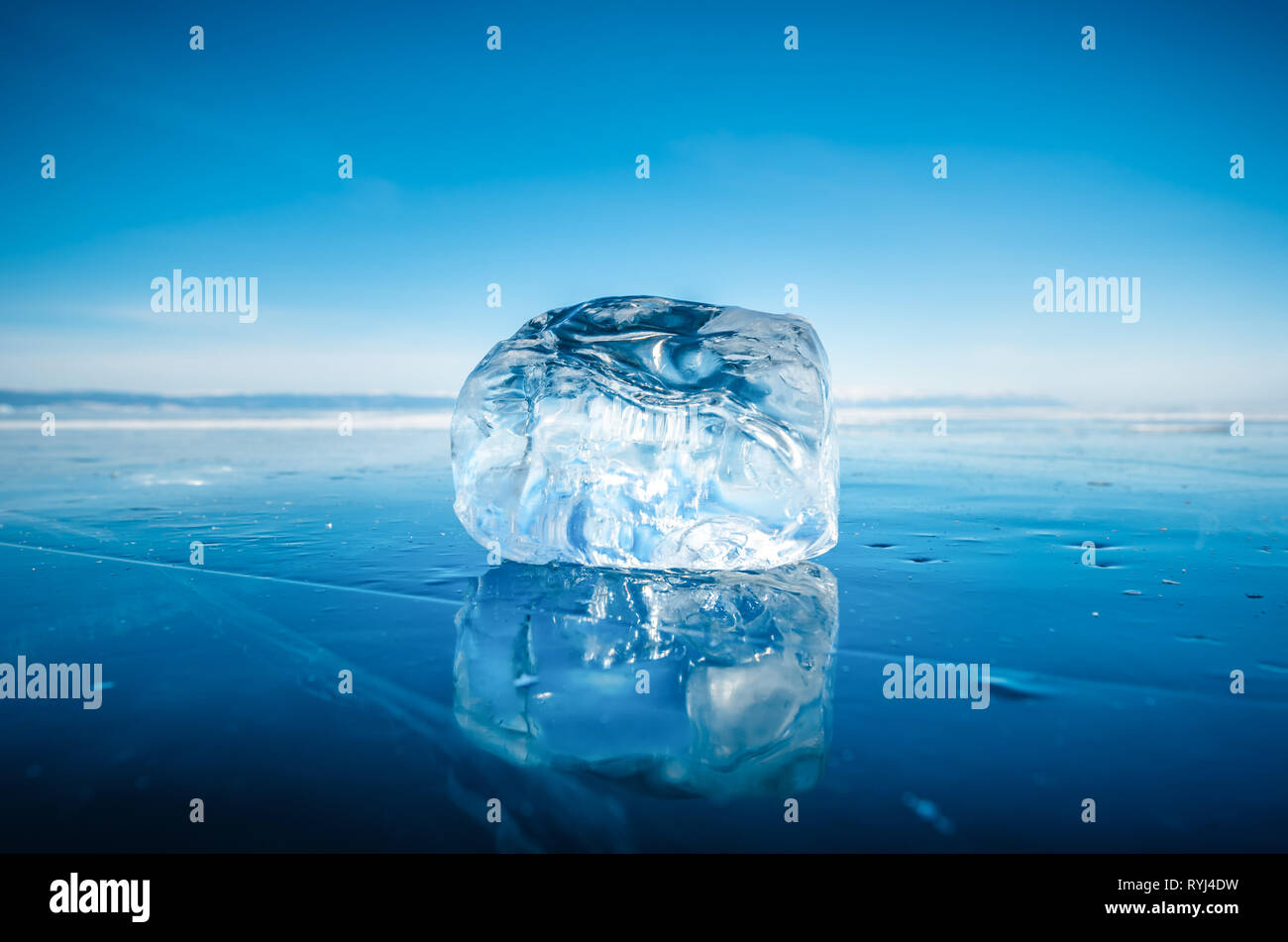 Close-up of natural breaking ice in frozen water on Lake Baikal, Siberia, Russia. Stock Photo