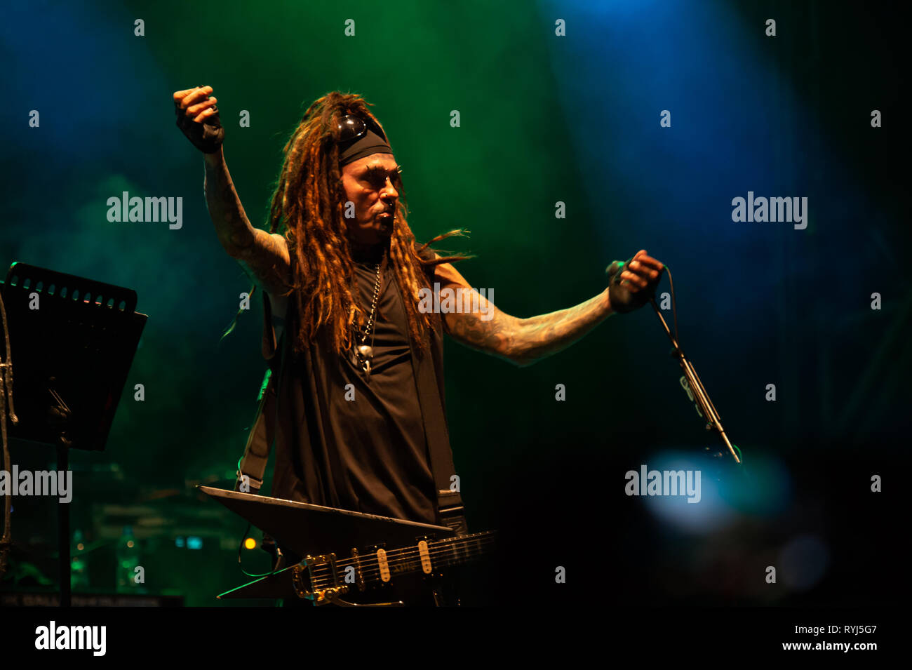 Al Jourgensen, singer, guitarist, keyboard player and leader of industrial metal rock band of Ministry. Villa Ada, Rome, Italy, 1-08-2018 - Stock Image