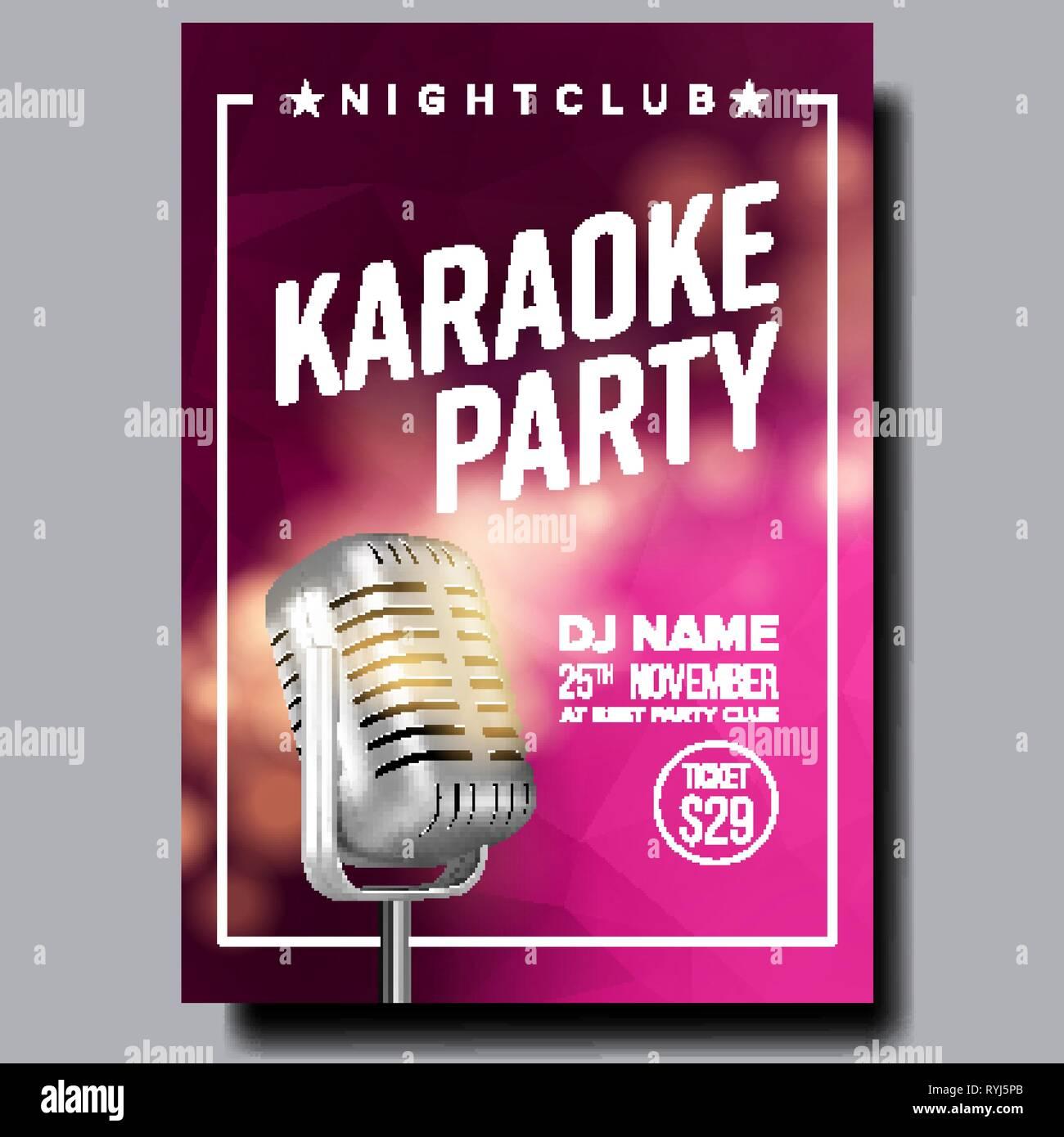 Karaoke Poster Vector. Party Flyer. Karaoke Music Night. Radio Microphone. Abstract Template. Rock Fun. Vocal Sign. Old Bar. Star Show. Modern Sound - Stock Vector