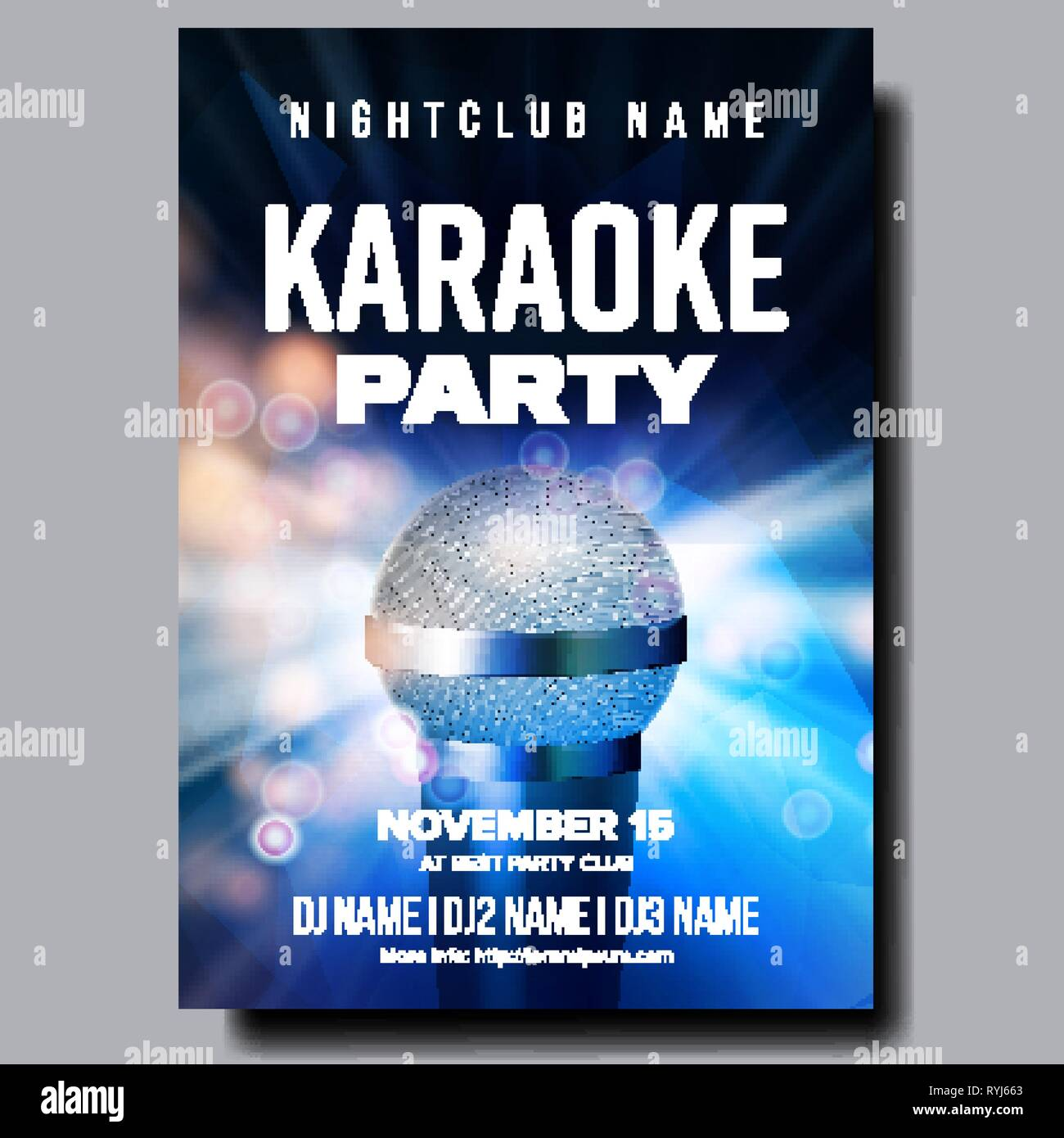 Karaoke Poster Vector. Colorful Instrument. Technology Symbol. Karaoke Party Flyer. Music Night. Radio Microphone. Retro Concert. Competition. Media - Stock Image