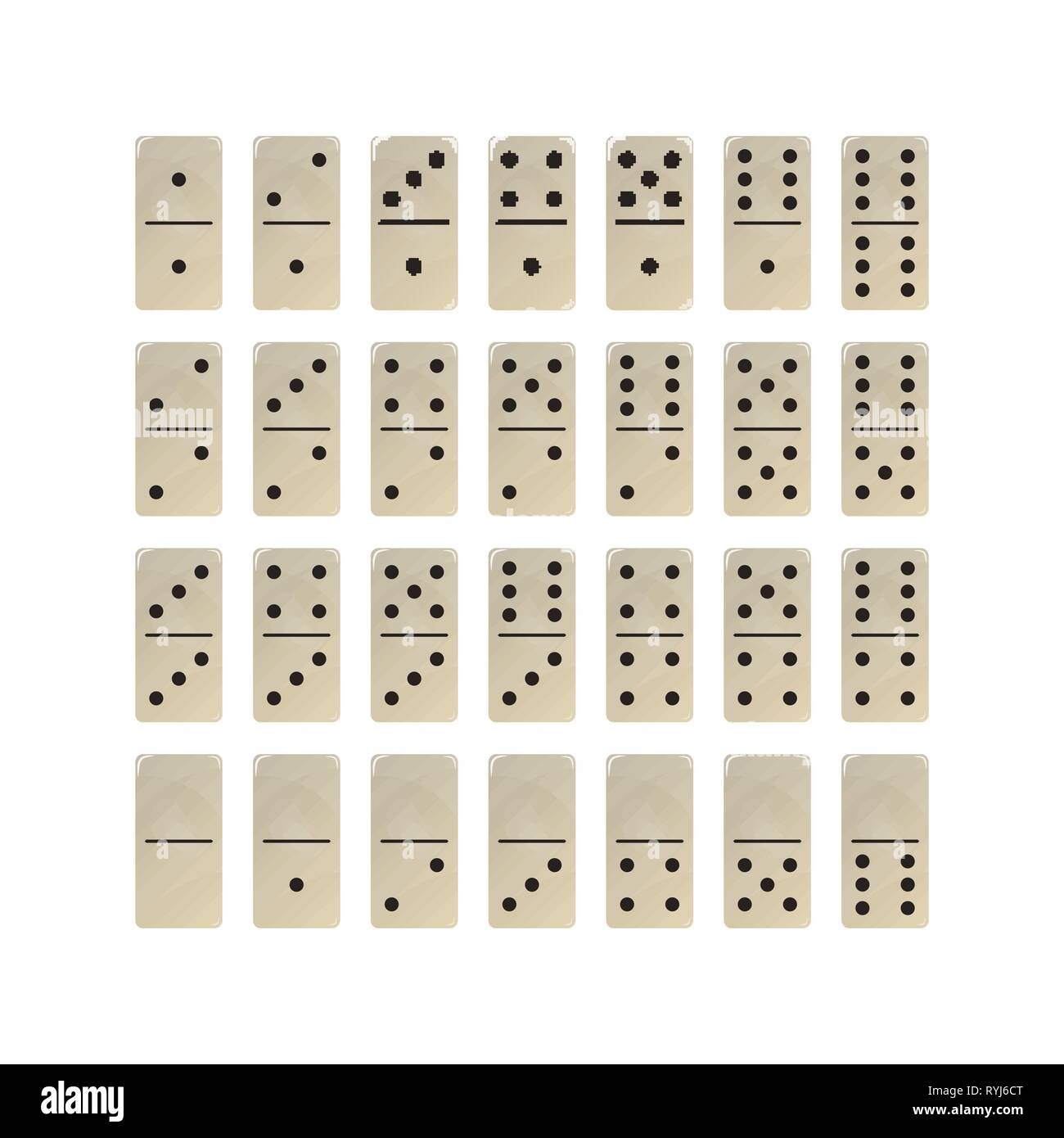The game of dominoes. Set of white blocks. Vector illustration domino. - Stock Vector