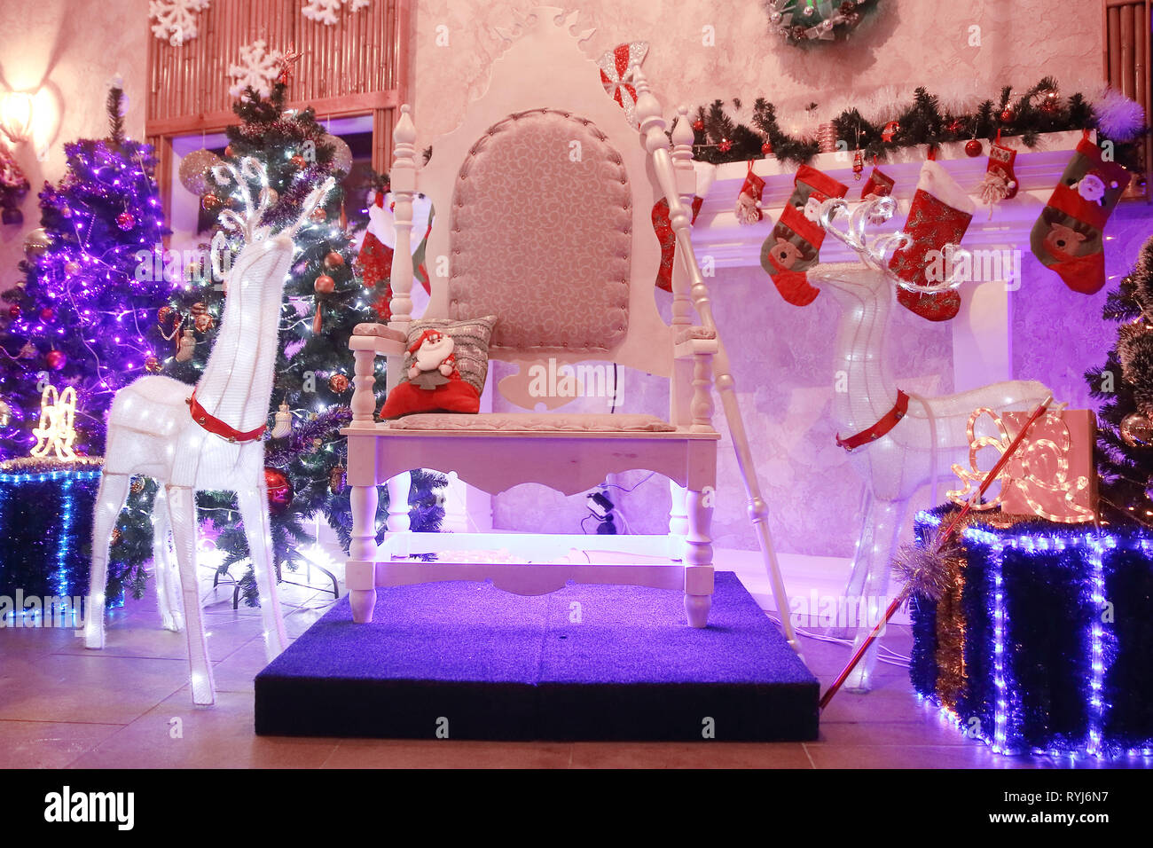 chair for Santa Claus in the festive living room. - Stock Image