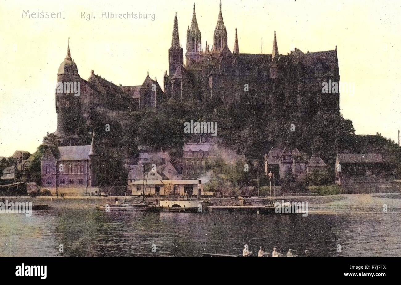 Albrechtsburg, Steamship Rhein, Coxed fours, Elbe in Meißen, 1908, Meißen, Schlepper und Ruderboot, Germany - Stock Image