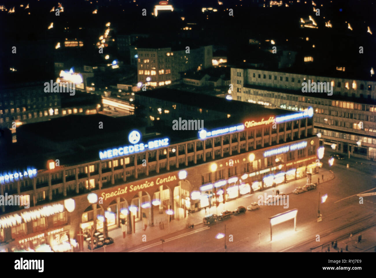 countries, Germany, Stuttgart, station square by night, 1950s, Additional-Rights-Clearance-Info-Not-Available - Stock Image