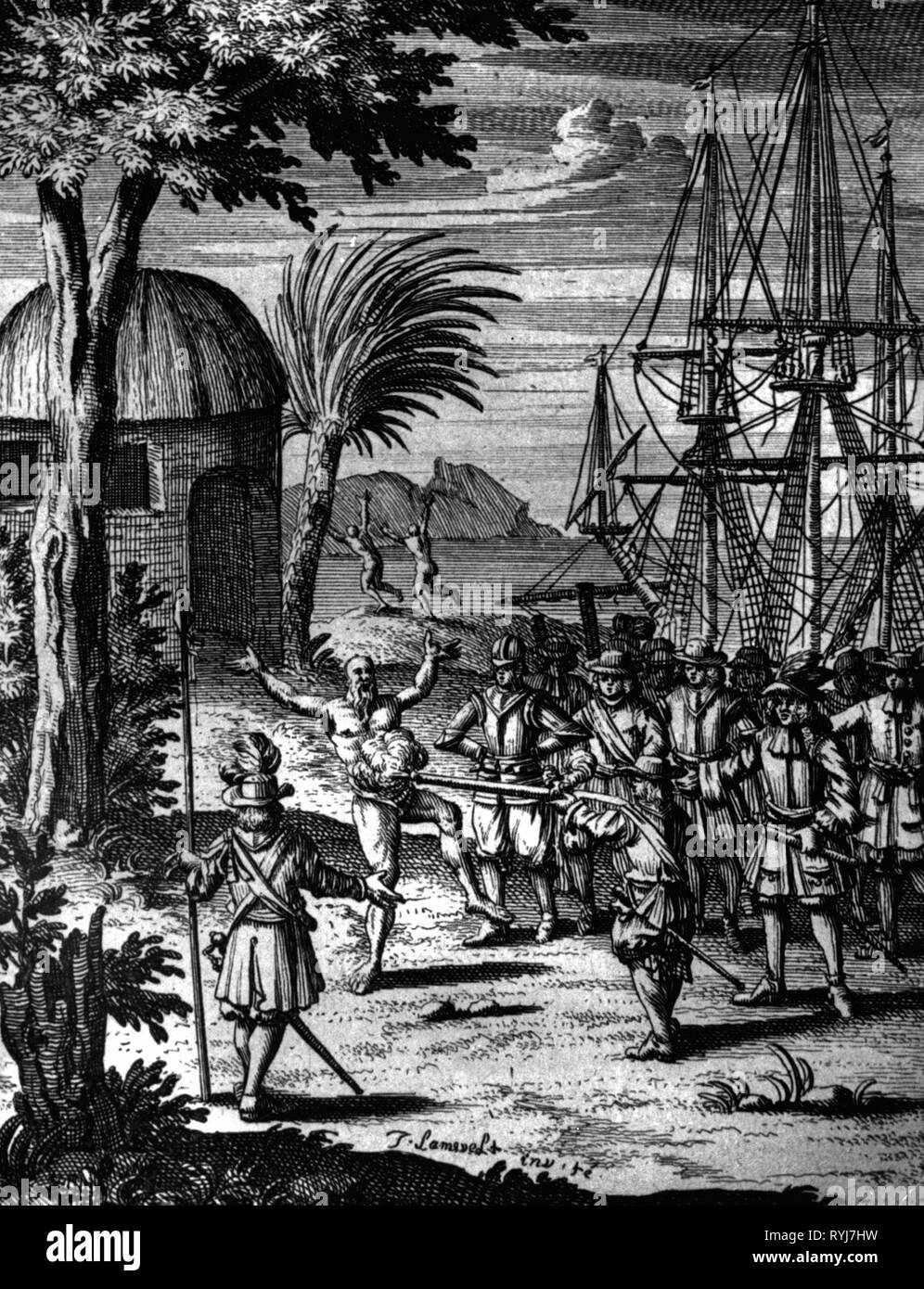 transport / transportation, navigation, buccaneers, captain John Watling is shooting an Indian, near Arica, Chile, January 1681, copper engraving by Jan Lamsvelt, 'The Buccaneers of America' by Alexandre Exquemelin, 1684, Additional-Rights-Clearance-Info-Not-Available - Stock Image