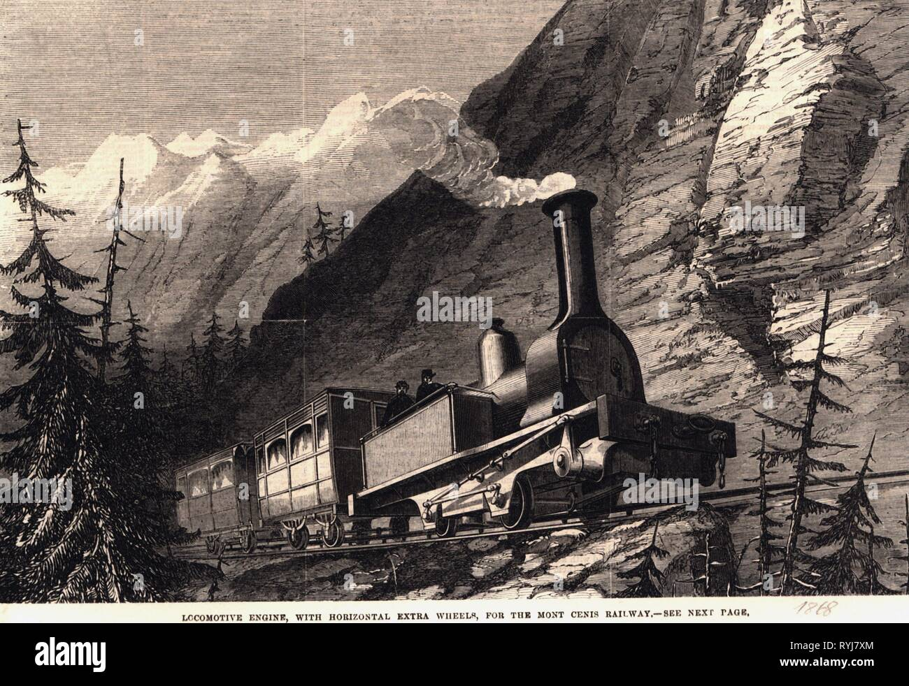 transport / transportation, railway, mountain railway, Mont Cenis Pass Railway, Susa, Italy, and Modane, France, locomotive with special power transmission by Chevalier, Cheilus et Cie, design: A. Alexander, wood engraving, 'The Illustrated London News', 1868, Additional-Rights-Clearance-Info-Not-Available - Stock Image