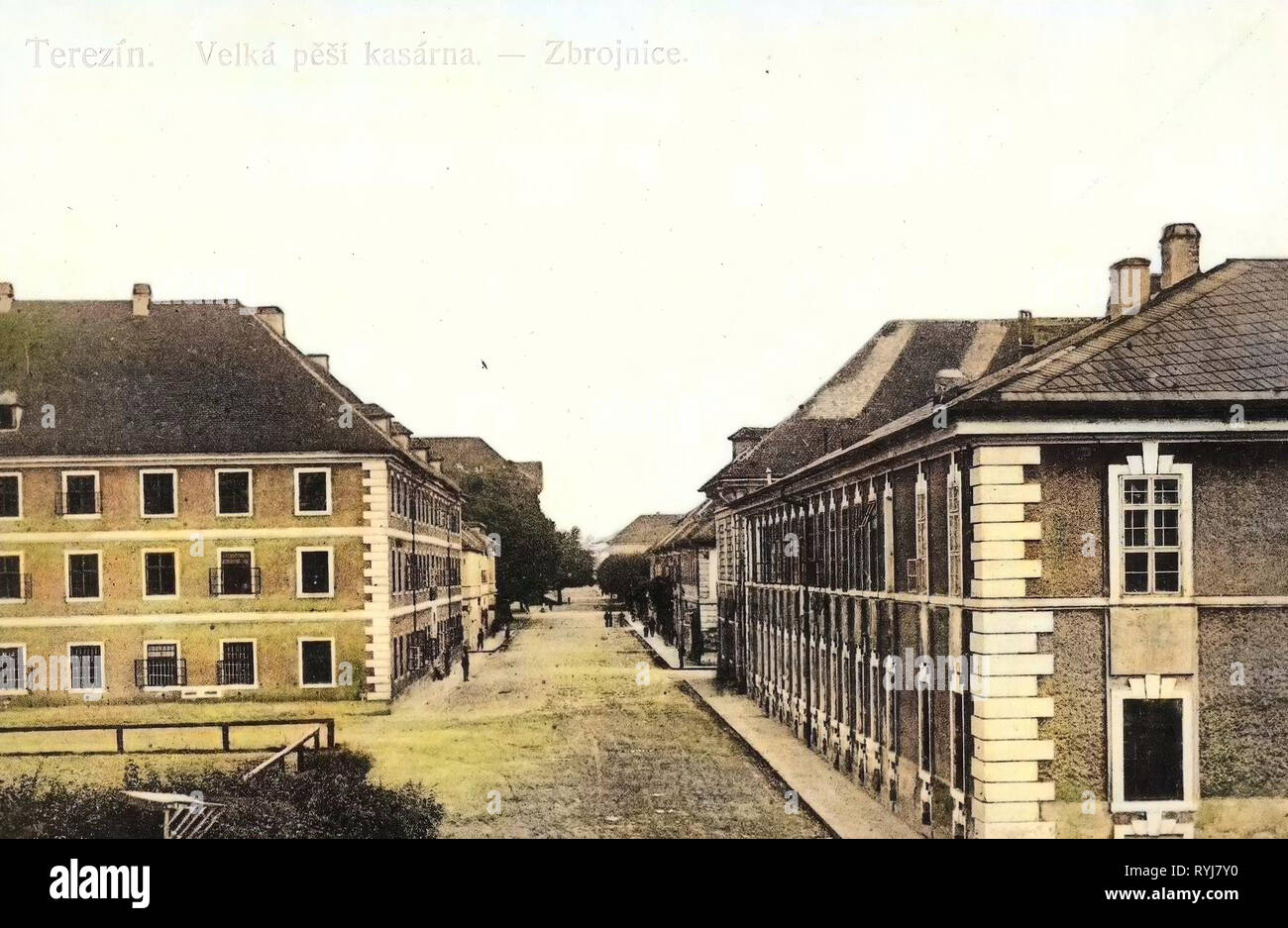 Arsenals in the Czech Republic, Military facilities, 1909, Ústí nad Labem Region, Theresienstadt, Große Infanteriekaserne, Zeughaus - Stock Image
