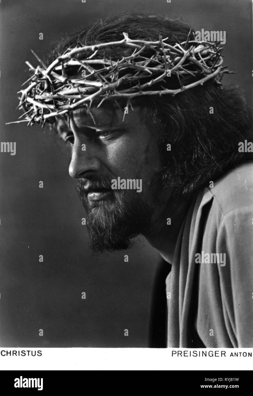 Theatre theater passion plays oberammergau 1950 jesus christ anton preisinger