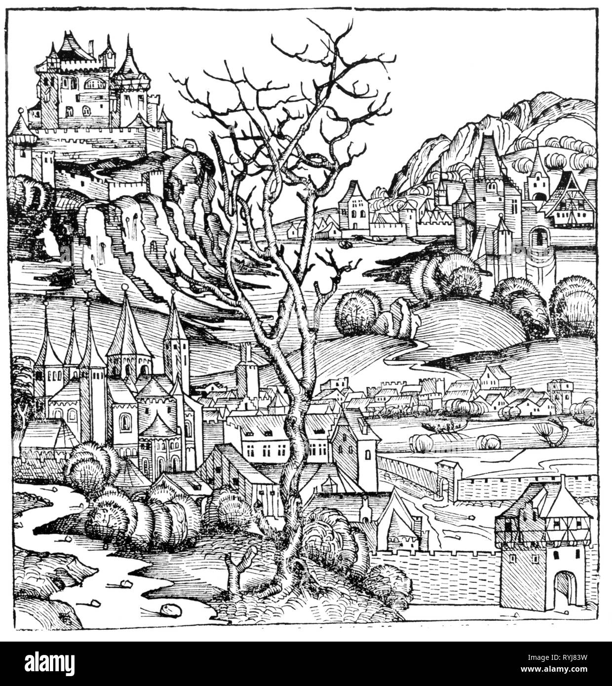geography / travel, Portugal, view, woodcut by Michael Wolgemut or Wilhelm Pleydenwurff for the chronicle of Hartmann Schedel, Nuremberg, 1493, Artist's Copyright has not to be cleared - Stock Image