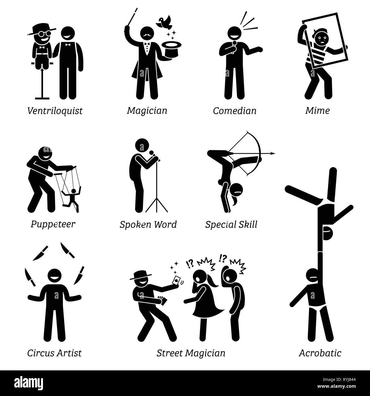 Theater stage performers, entertainers, artists, and live acts. Pictograms depict ventriloquist, magician, comedian, mime, puppeteer, spoken word, cir - Stock Vector