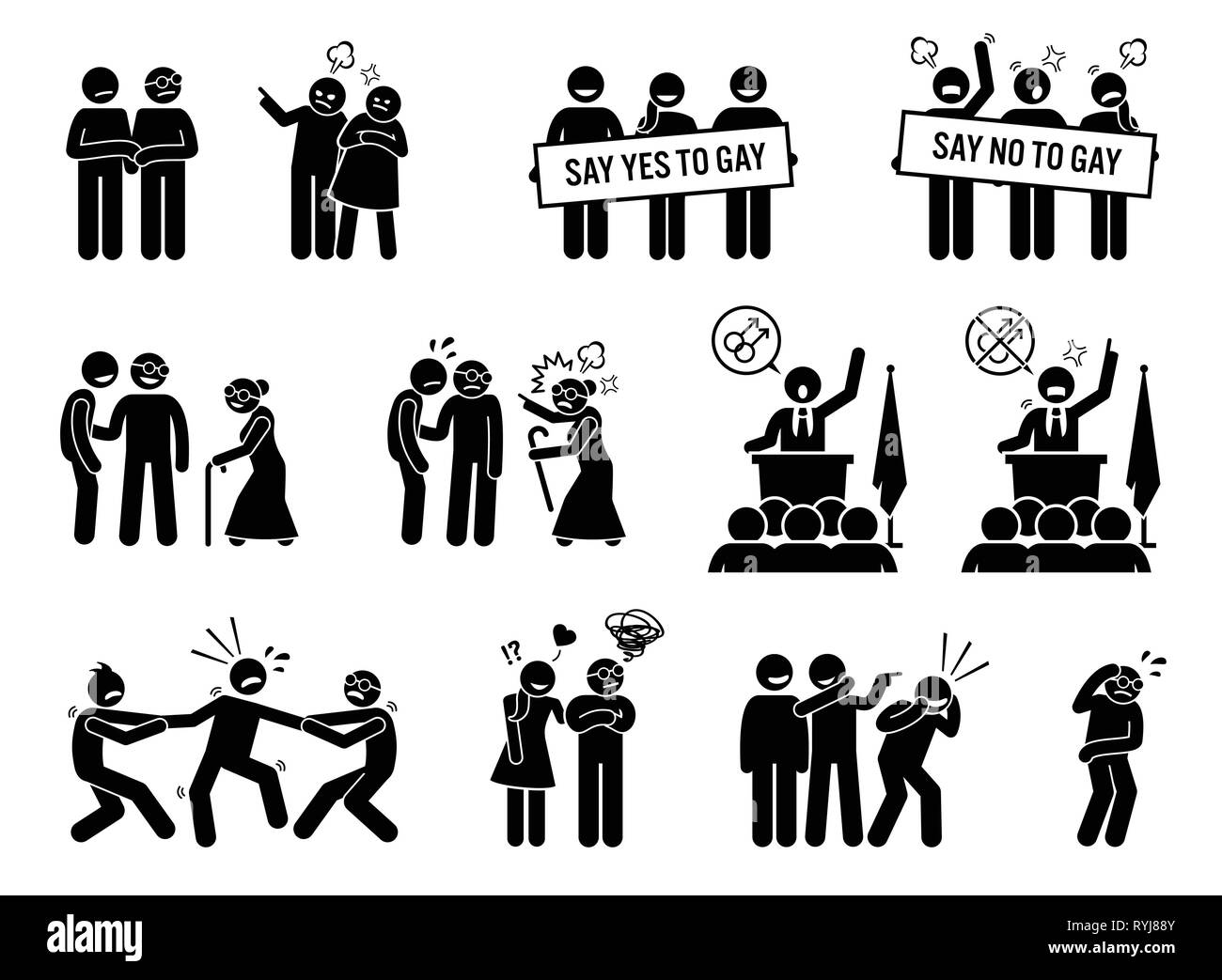 Gay man social problems and life hurdles. Illustrations depict homosexual men facing social difficulties, acceptance, rejections, and bullying. - Stock Image