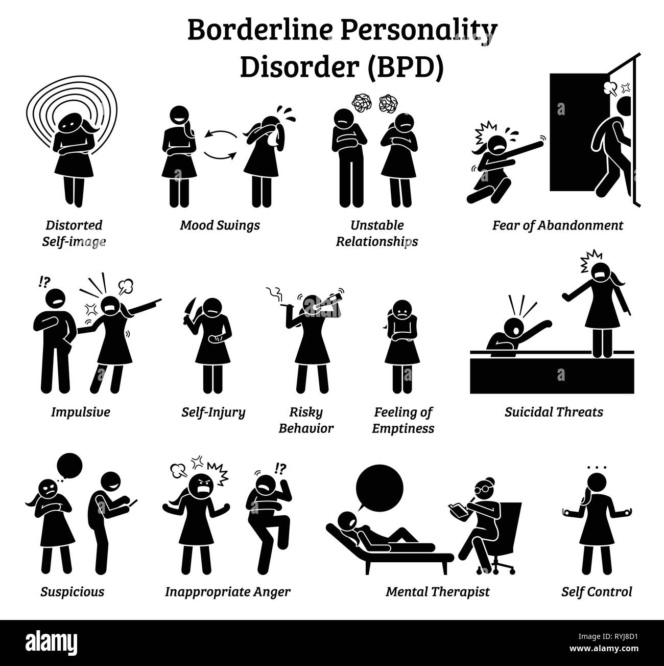 Borderline personality disorder BPD signs and symptoms. Illustrations depict a woman with mental health disorder having difficulty in life and relatio - Stock Image