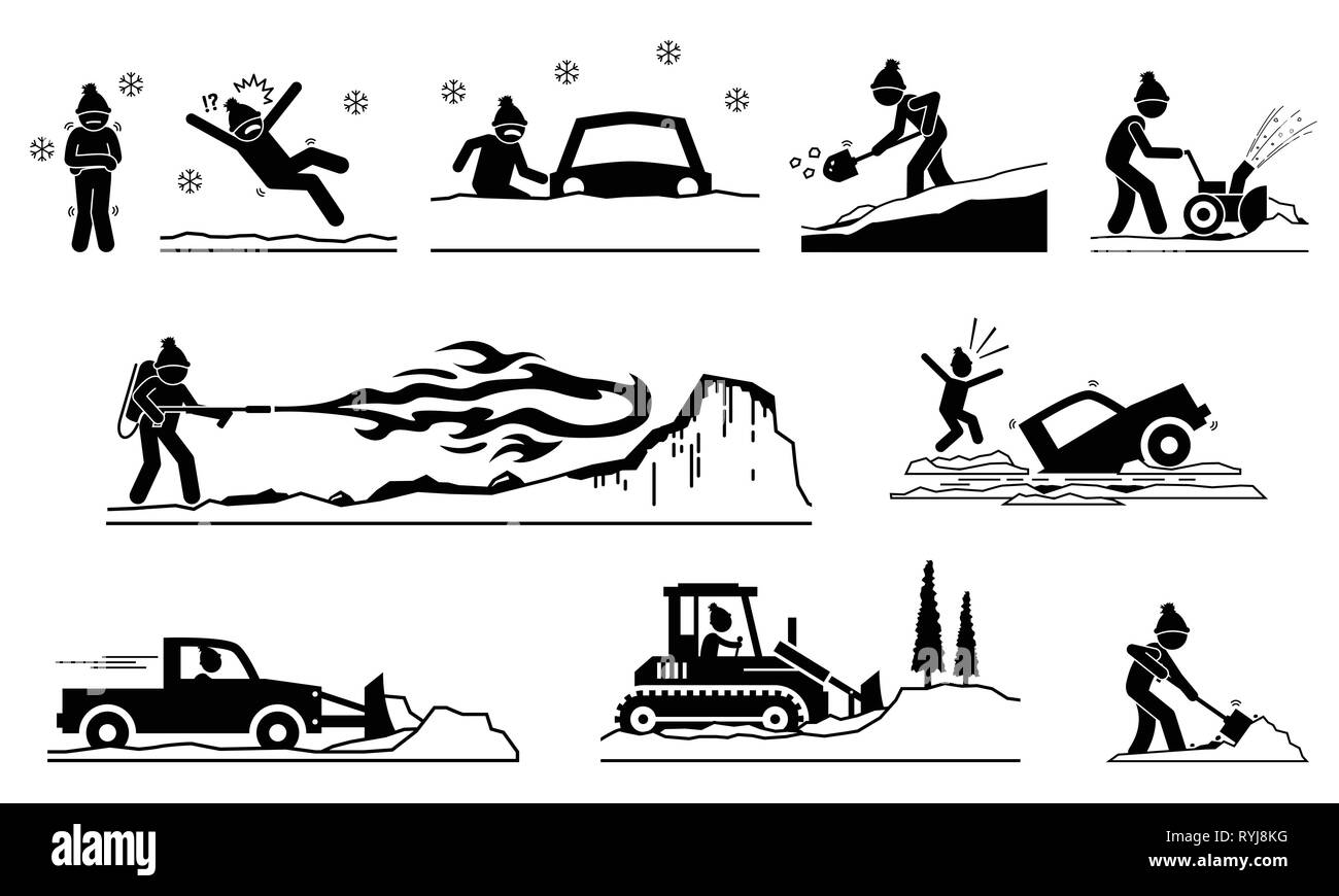 People having problems with snow and ice during winter. Pictogram depicts icons of human removing snows from roof, road, street, and house with snow p - Stock Image