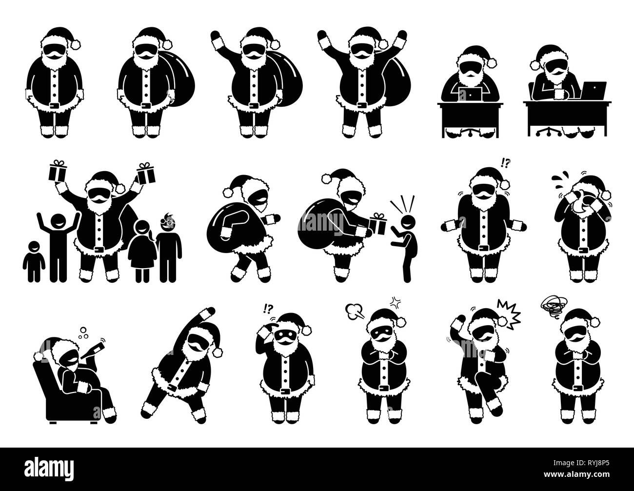 Santa Claus basic postures and feelings pictograms. Stick figure depict various poses and emotions of Santa Claus during Christmas. Icons also include - Stock Image