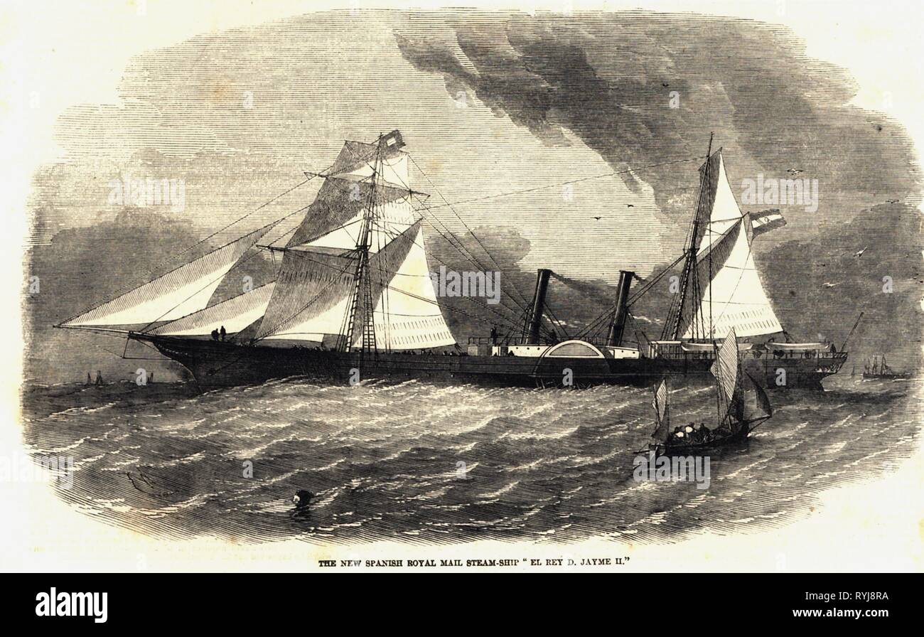 transport / transportation, navigation, paddle steamer, Spanish packet ship 'El Rey Don Jaime II.', on sea, wood engraving, The Illustrated London News, 1858, Additional-Rights-Clearance-Info-Not-Available - Stock Image
