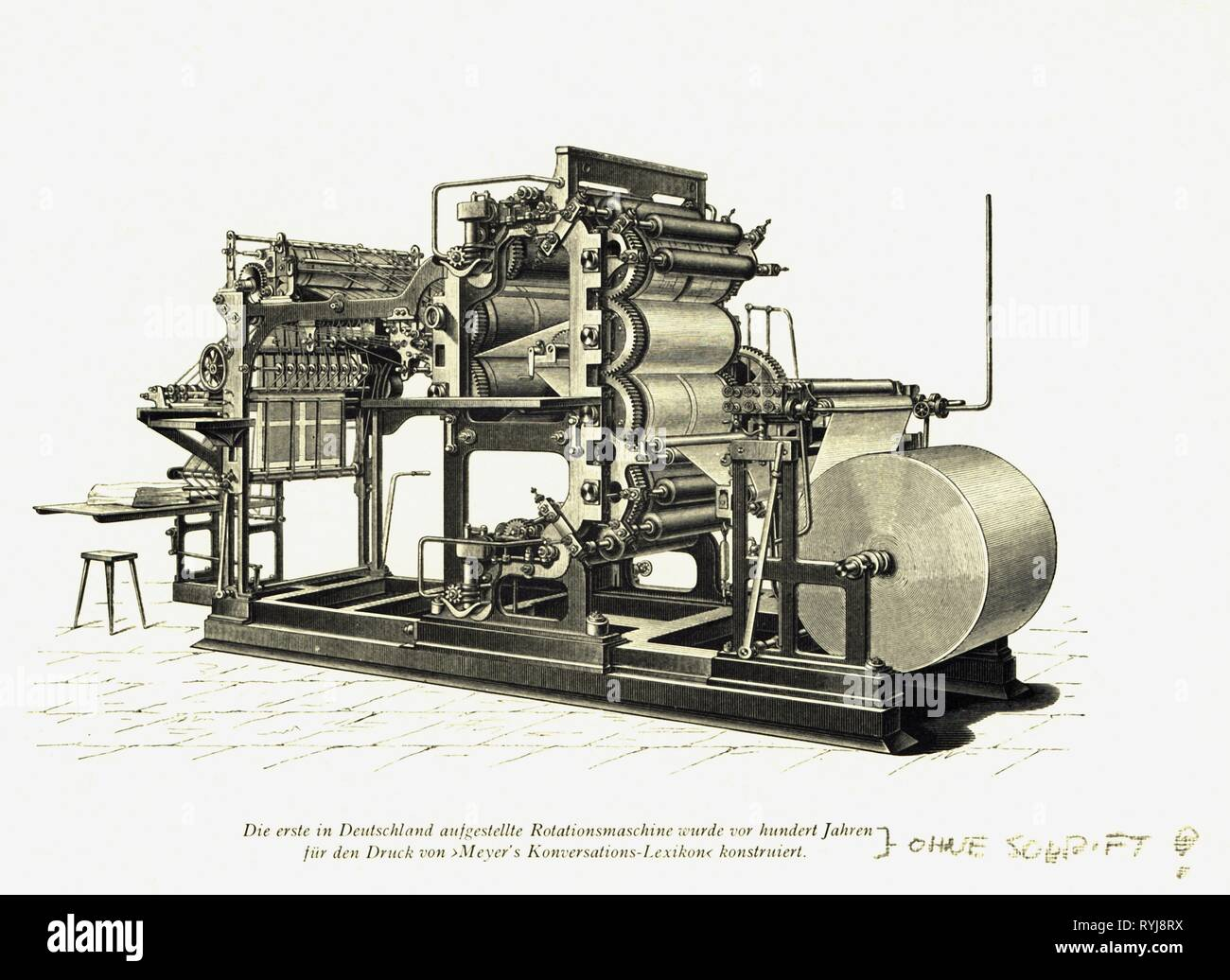 technics, typography, rotary press, Maschinenfabrik Augsburg-Nuernberg, 1880, wood engraving, late 19th century, Additional-Rights-Clearance-Info-Not-Available - Stock Image
