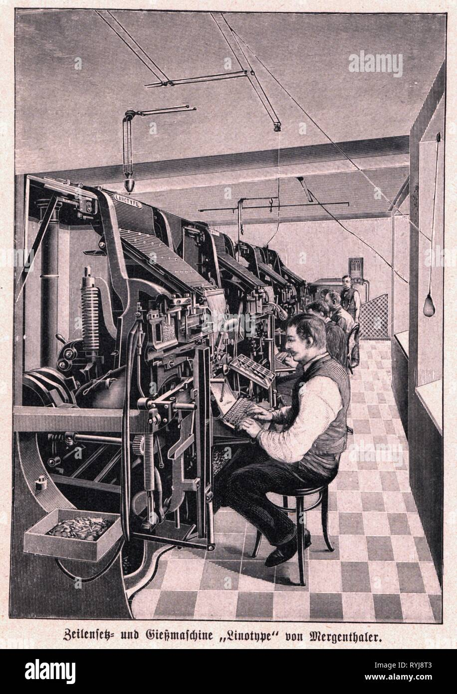 technics, typography, machinery, typesetting machine Linotype Simplex of Ottmar Mergenthaler, circa 1895, contemporary wood engraving, Additional-Rights-Clearance-Info-Not-Available - Stock Image