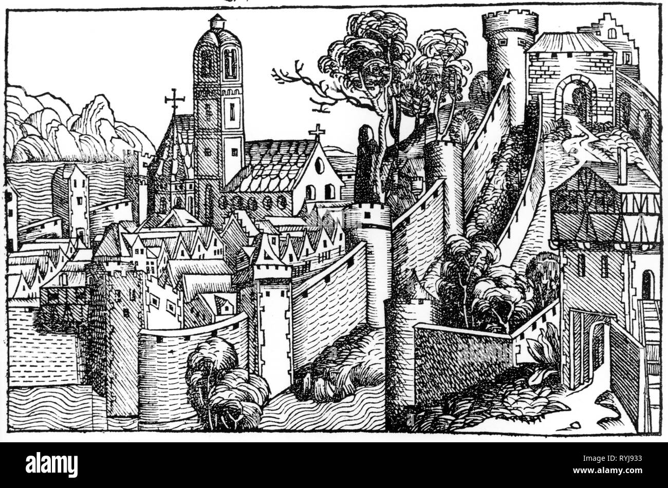 geography / travel historic, Egypt, cities and communities, Alexandria, view, woodcut by Michael Wolgemut or Wilhelm Pleydenwurff to the chronicle of Hartmann Schedel, Nuremberg, 1493, Artist's Copyright has not to be cleared - Stock Image