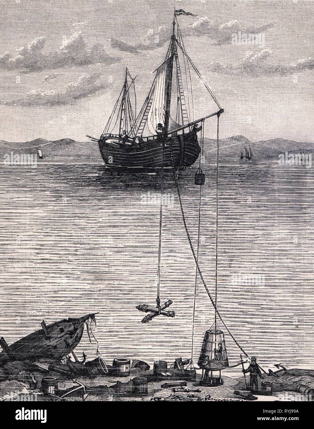 diving, Halley's diving bell, wood engraving, circa 1880, Additional-Rights-Clearance-Info-Not-Available Stock Photo