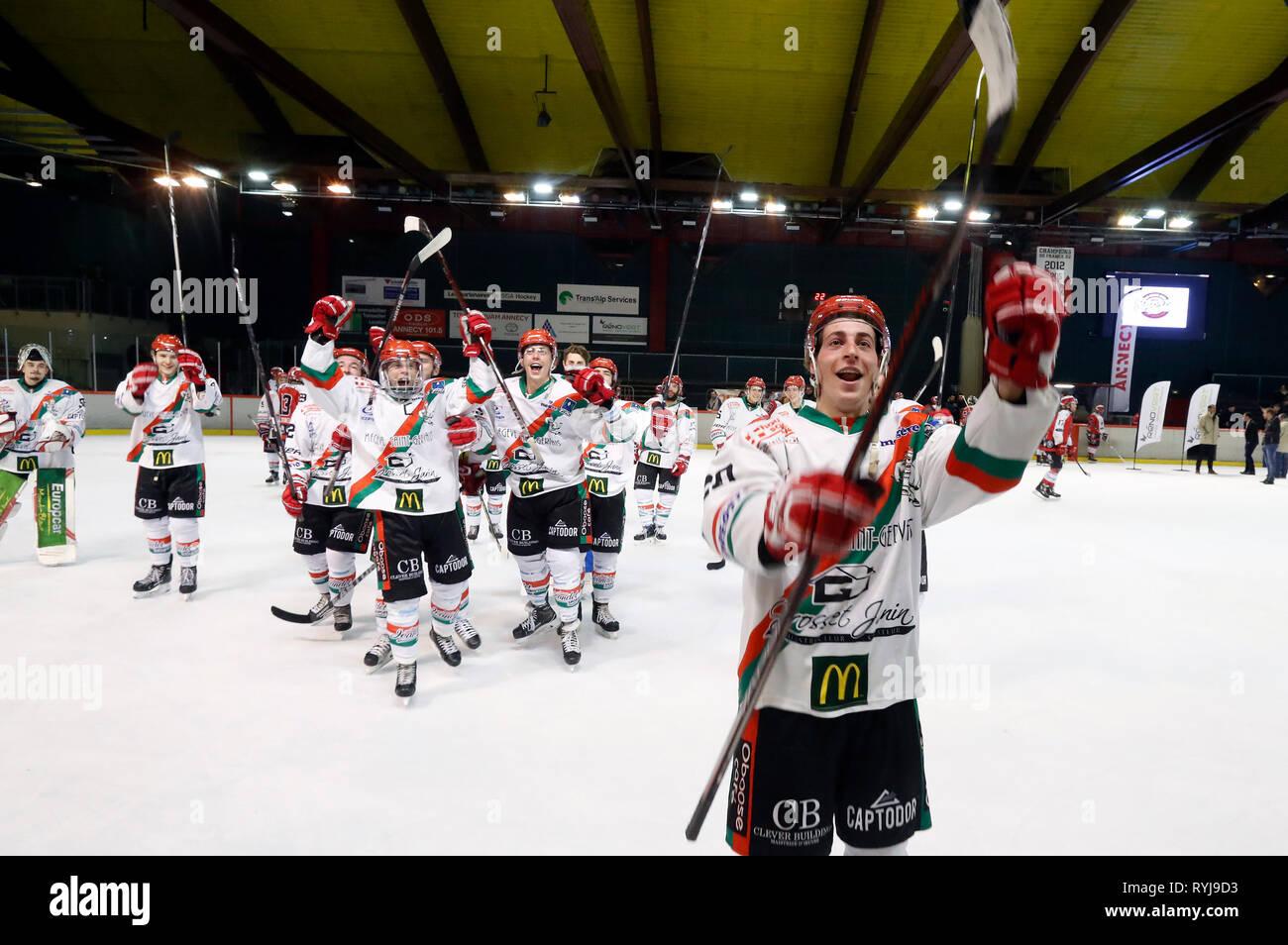 Ice hockey match. HC Mont-Blanc. Victory  celebration. Annecy. France. - Stock Image