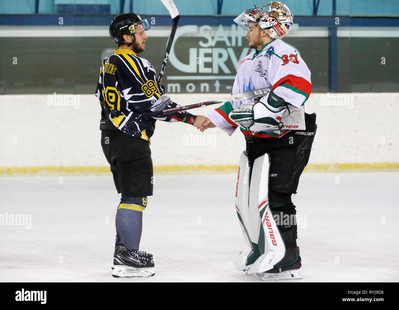 Ice Hockey match.  HC Mont-Blanc.  Saint-Gervais. France. - Stock Image