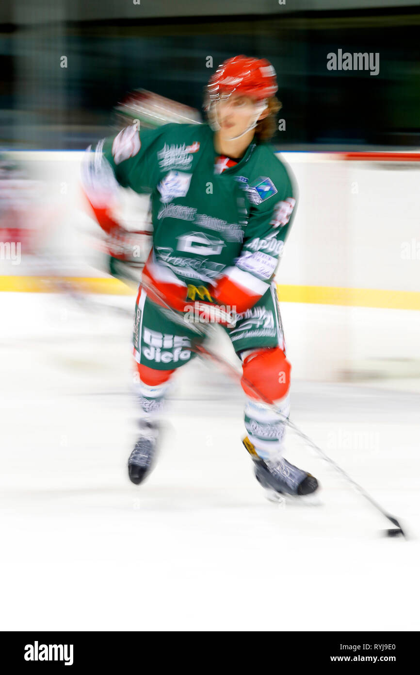 Ice Hockey match.  Player in action. Megeve. France. - Stock Image