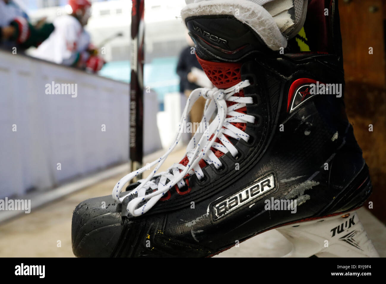 Ice Hockey. Player and ice skate. Close-up. Saint-Gervais. France. - Stock Image