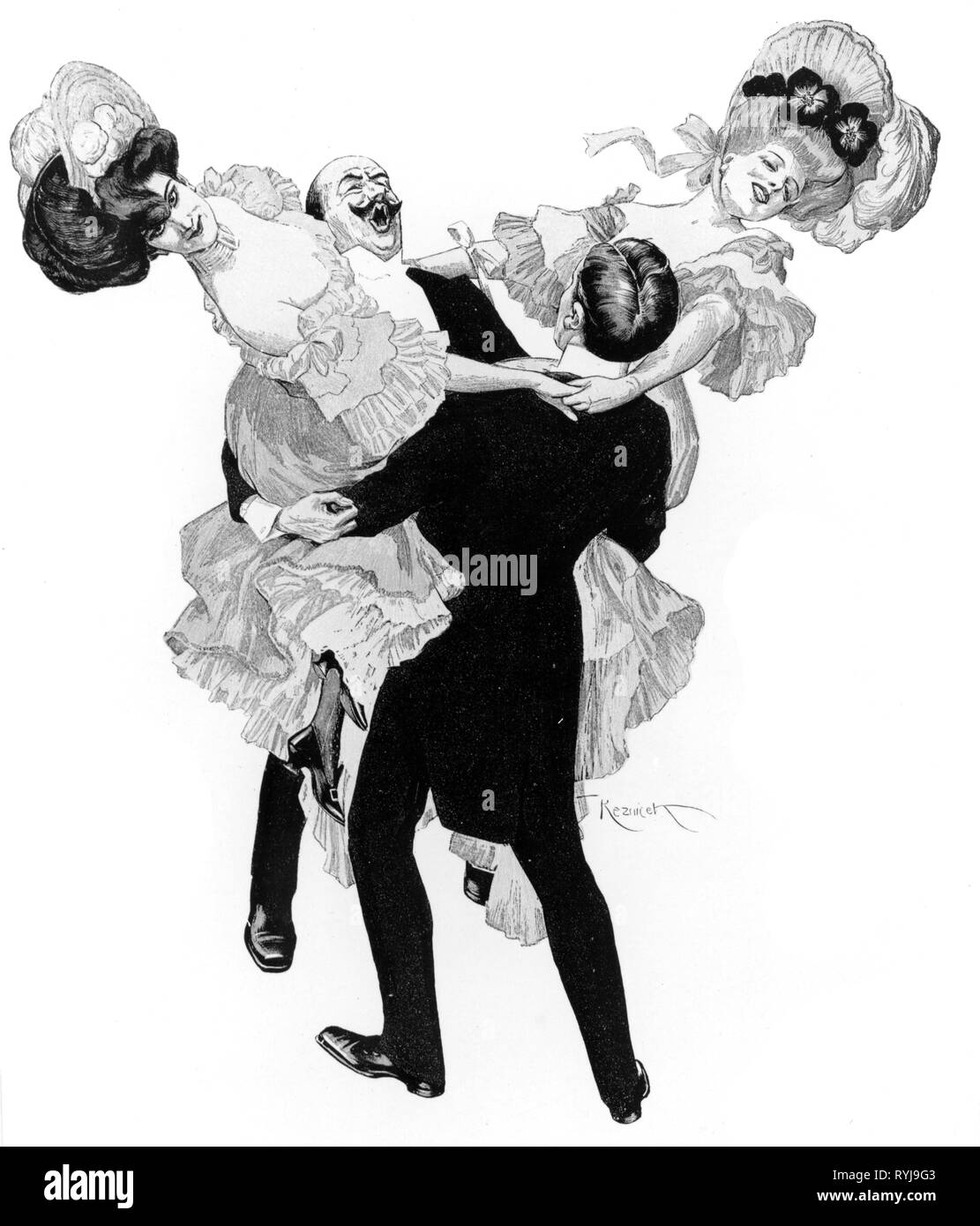dance, Munich Francaise, 'South of the Danube', illustration by Ferdinand von Reznicek, circa 1905, Additional-Rights-Clearance-Info-Not-Available - Stock Image