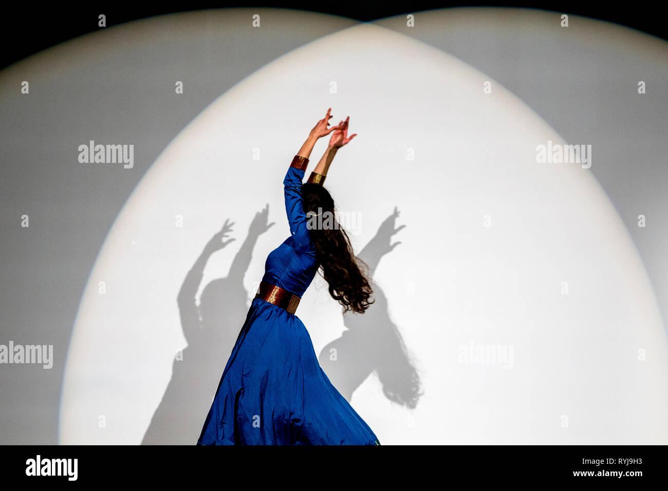 Dancer performing in Paris, France. - Stock Image