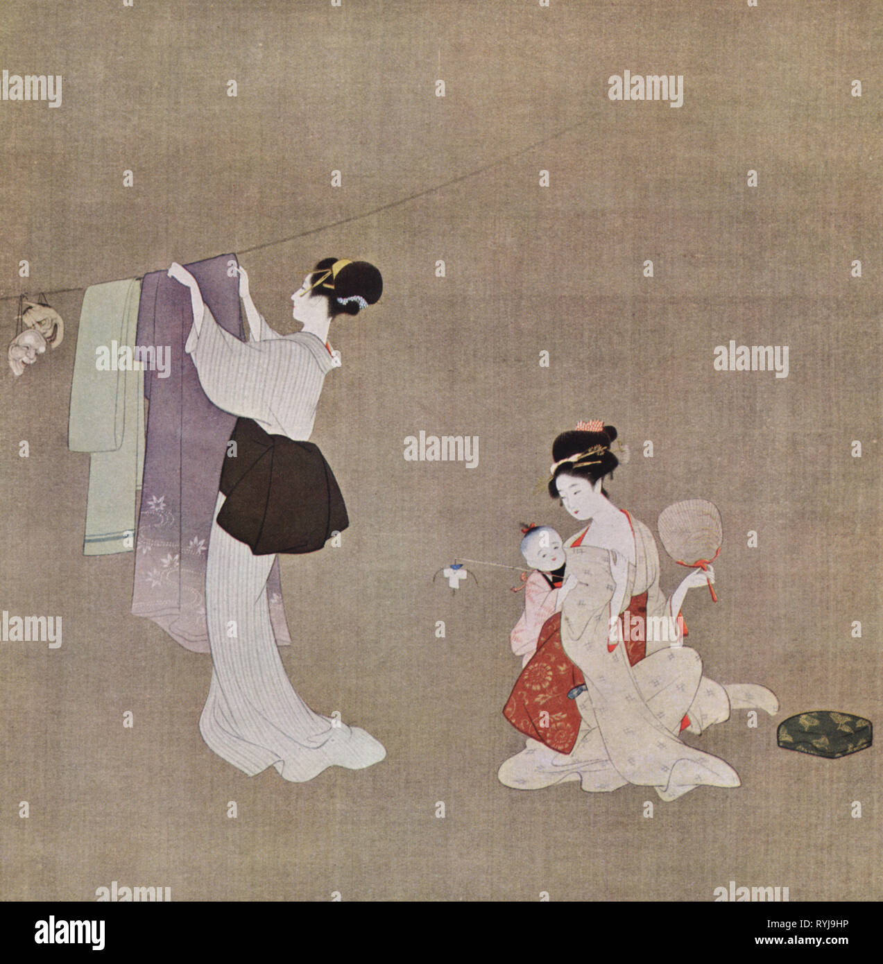 geography / travel historic, Japan, people, two women with child, domestic scene, airing dresses, print after silk painting by Uemura Shoen, 1st half 20th century, clothesline, clotheslines, fan, fans, household, households, everyday life, daily routine, painting, fine arts, art, Bijin-ga, Bijinga, ukiyo-e, female, clothes, fashion, child, children, kid, kids, scene, scenes, dress, dresses, print, printings, historic, historical, half length, half-length, Artist's Copyright has not to be cleared - Stock Image