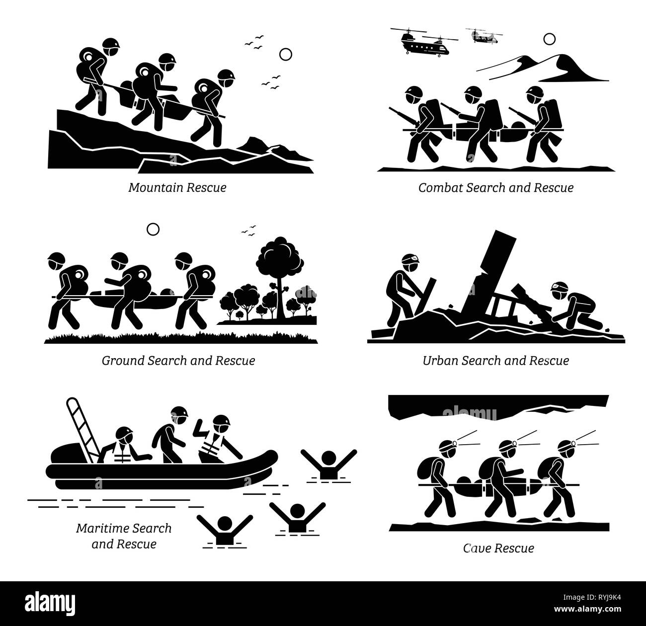 Search and rescue operations. Illustrations depict SAR operation on mountain, combat, ground, urban, maritime, water, and cave rescue. - Stock Vector