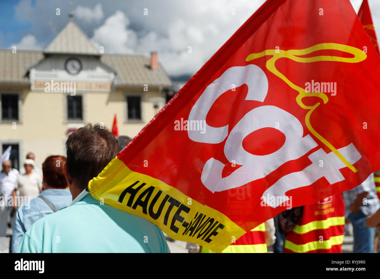 CGT Union Organize A Demonstration Against The Railway System Reform.  Le Fayet. France. - Stock Image