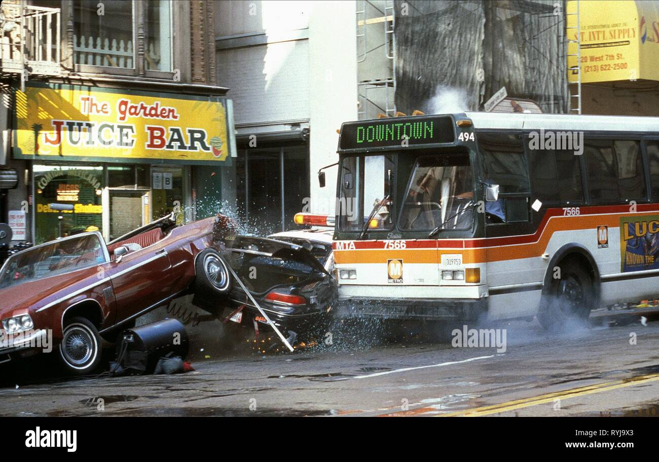 BUS CRASHES INTO PARKED CARS, GONE IN 60 SECONDS, 2000 - Stock Image