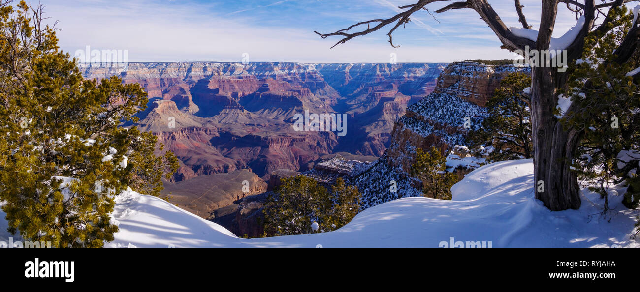 Grand Canyon winter panorama with Bright Angel Canyon at center. - Stock Image