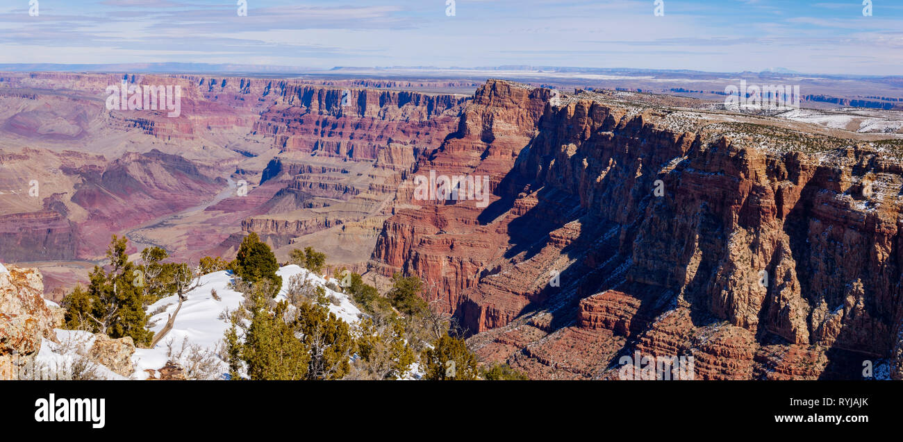 Panorama of Desert View Overlook at the Grand Canyon. Colorado River at left, Palidades of the Desert running from center to right. - Stock Image