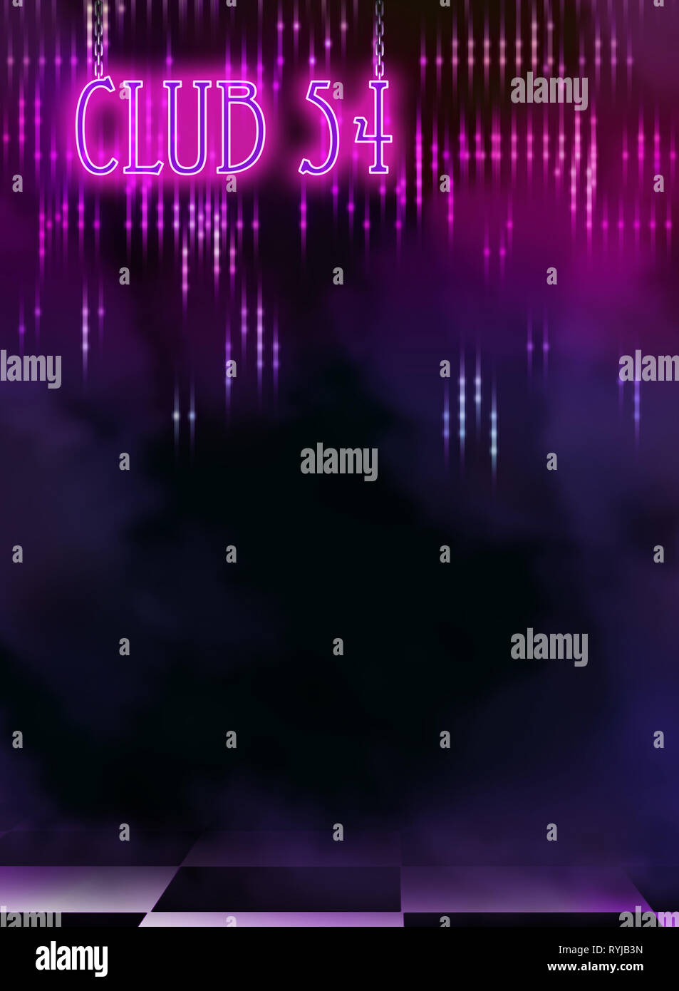 3d illustration of club interior with pink glitters Stock Photo