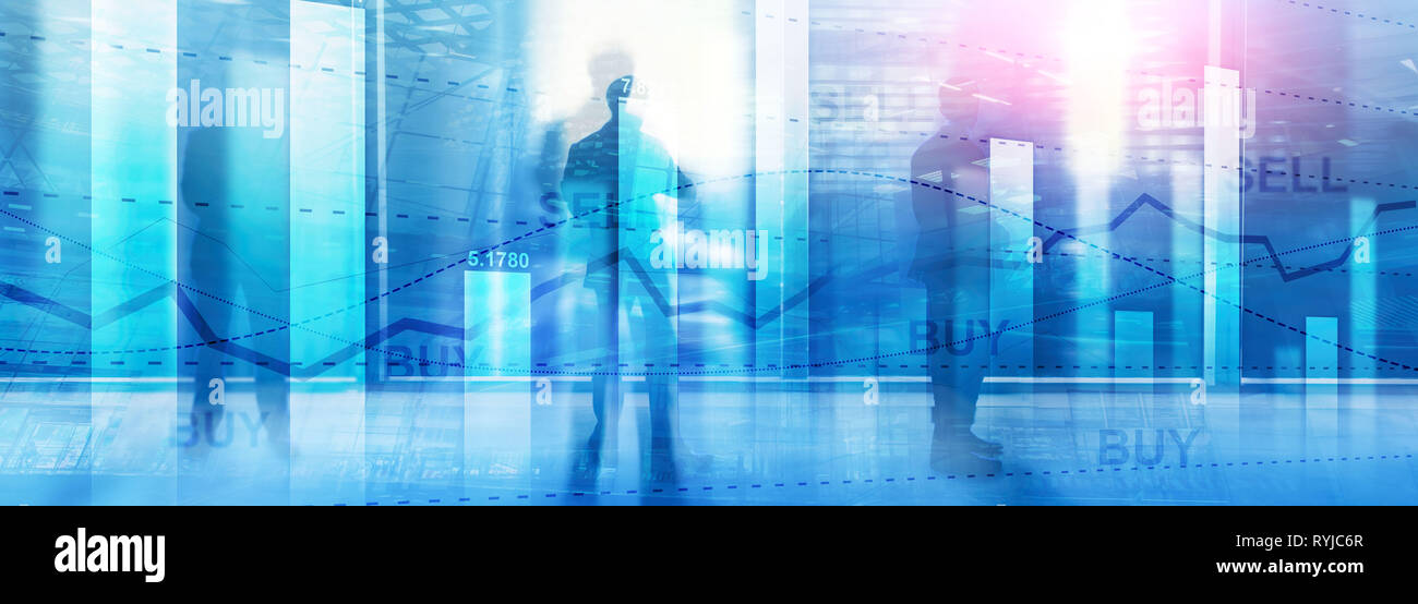 Web site header. Financial stock trading graph chart diagram business finance concept double exposure mixed media. Stock Photo