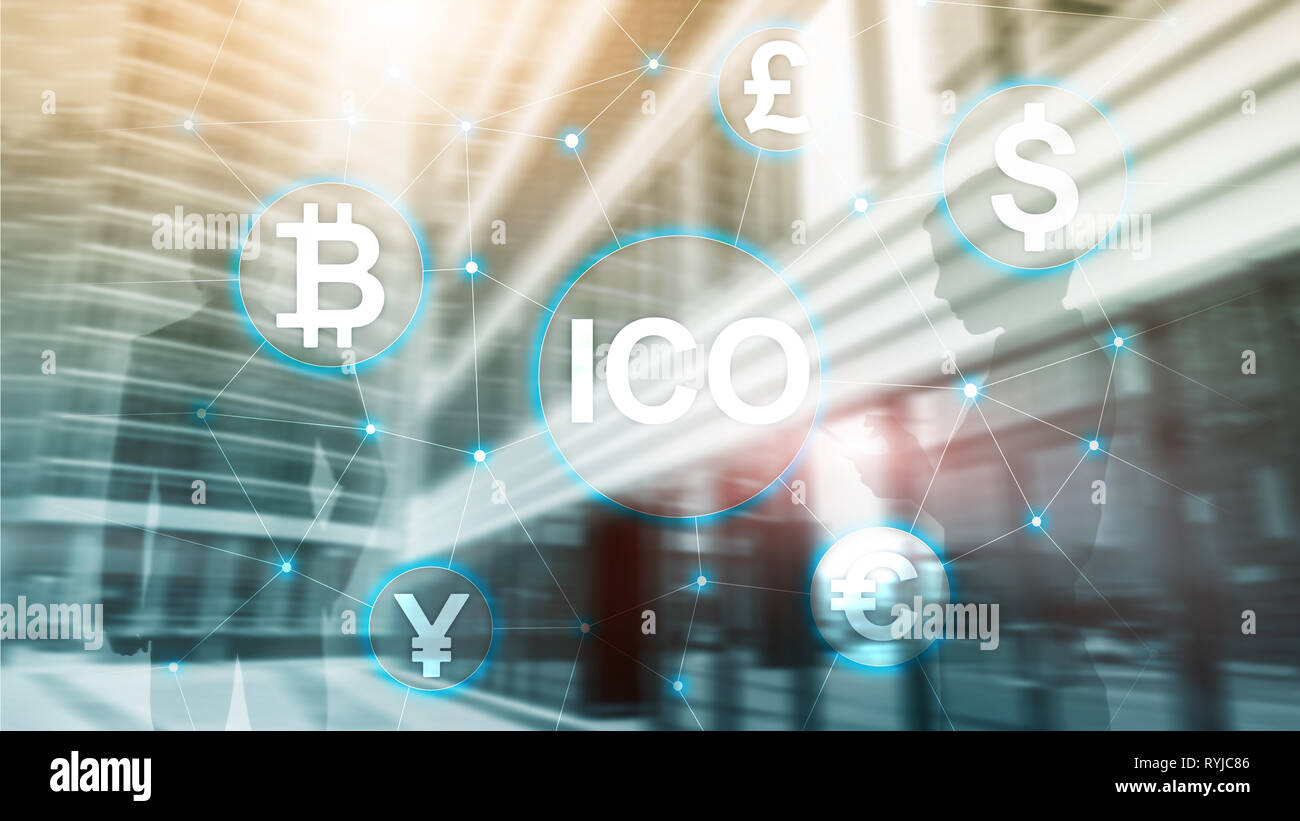 ICO - Initial coin offering, Blockchain and cryptocurrency concept on blurred business building background - Stock Image
