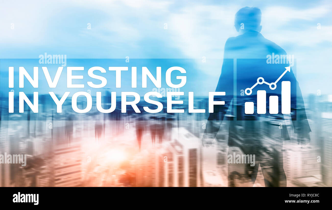 Invest in yourself. Personal development and education concept on abstract blurred background - Stock Image